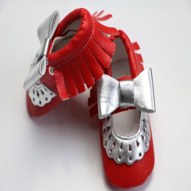 2016 Recién Llegado de Plata Bowknot Inferiores Suaves 11 Colores Bebé Niña Niño Primeros Caminante Newborn Infant Toddler Zapatos Mocasines 0-24 M