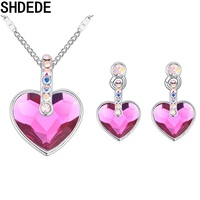 SHDEDE Crystal from Swarovski Wedding Fashion Exquisite Necklace Earrings Jewelry Sets Love Heart Pendants For Women 19700