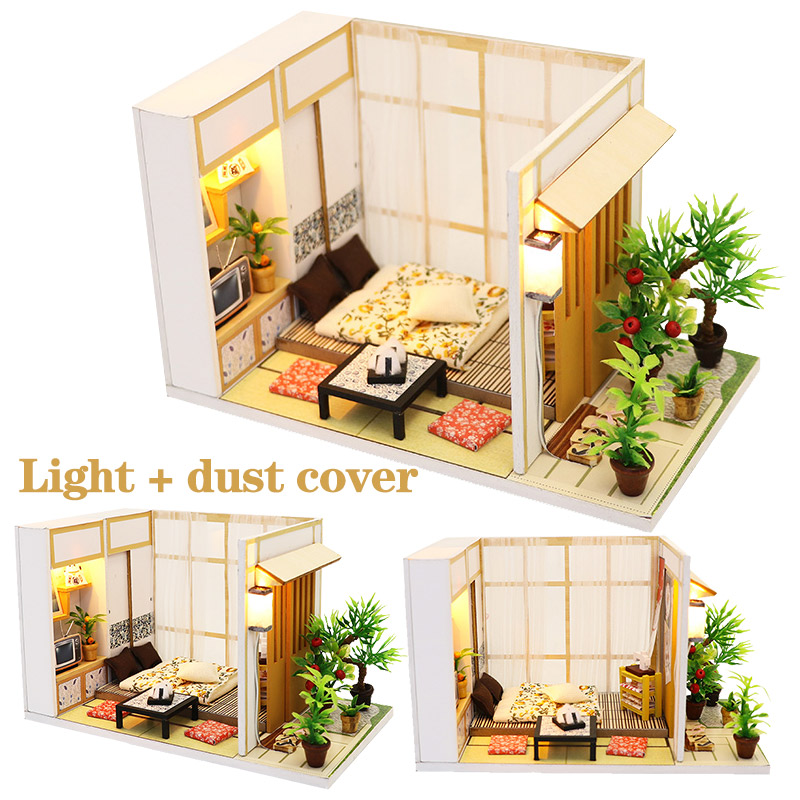 DIY Japanese Style Doll House Miniature DIY Dollhouse With Furnitures Futrue Space Wooden House 3d Miniaturas Toys For Kids Gift