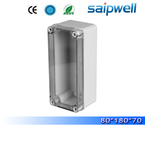 2015 best hot sale ip65 plastic standard junction box sizes with transparent cover 80 180 70mm