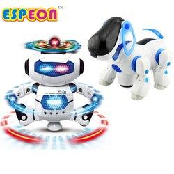 Nuevo Espacio inteligente baile Robot perro electrónico caminar juguetes con luz de música navidad regalo de Año Nuevo para niños astronauta juguete niño