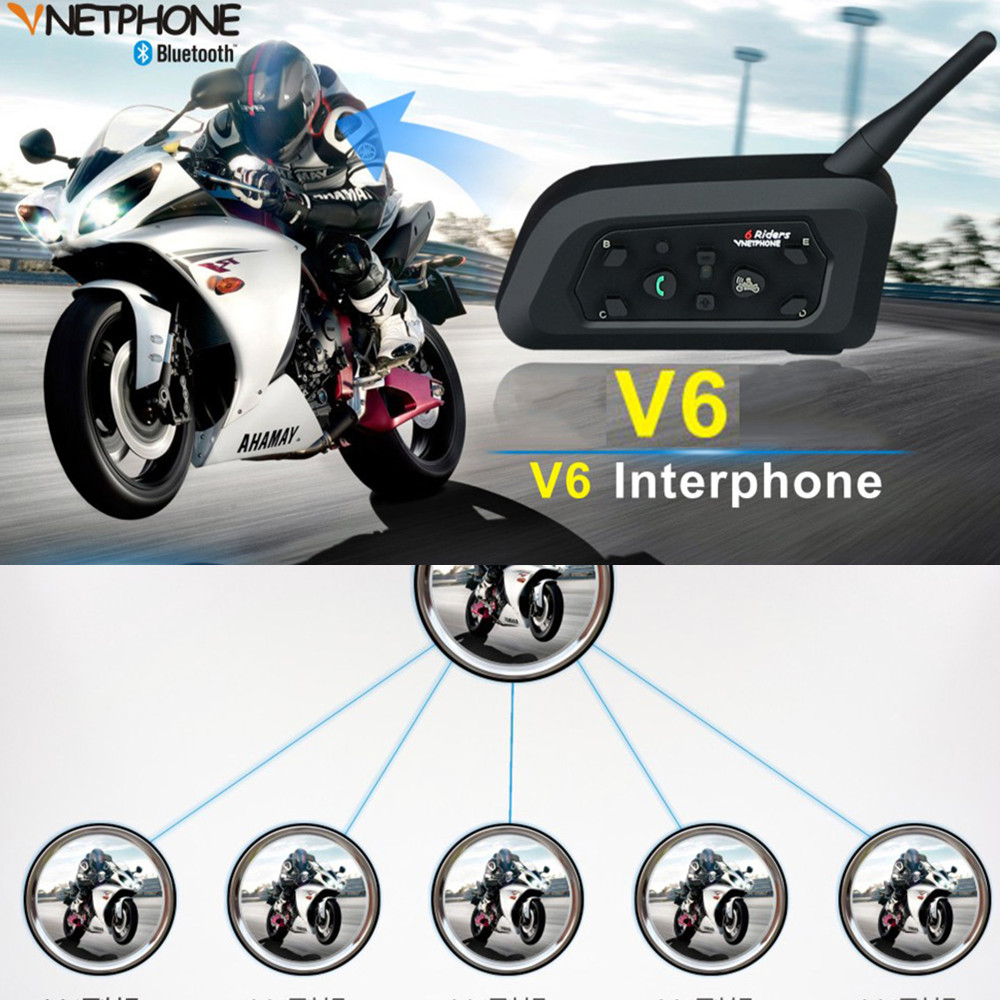 Professional V6 Motorcycle Bluetooth Helmet Headsets Intercom For 6 Riders Wireless Intercomunicador Interphon Helmet Intercom