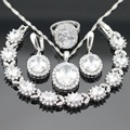 Silver Color Jewelry Sets For Women White Cubic Zirconia Necklace Pendant Bracelets Earrings Rings Christmas Free Gift Box