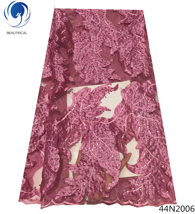 Beautifical tüll perlen spitze stoff heißer verkauf nigeria spitze stoff nigerian spitze stoffe 2018 hohe qualität für bekleidungs 44N20 - 5