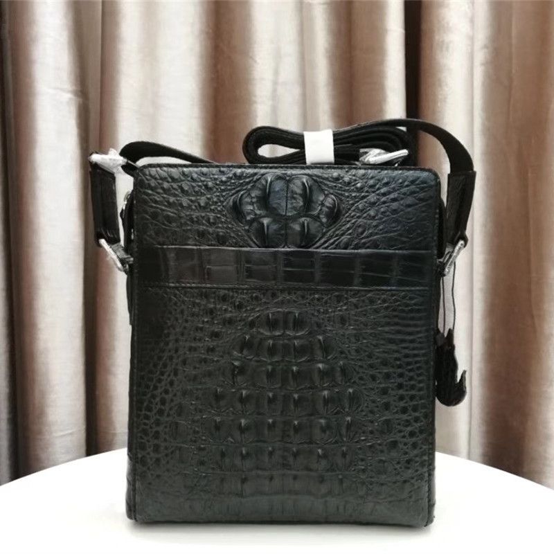 Authentic Crocodile Skin Zipper Closure Men's Small Cross Shoulder Bag Genuine Exotic Alligator Leather Male Flap Messenger Bag