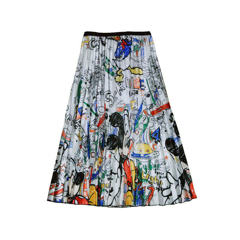 Women's Summer Cartoon Mouse Skirt Pleated Large Swing Girl Midi High Waist Elastic Female Pleated Skirts Falda SP9527