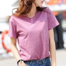 HLBCBG S-4XL Plain T Shirt Women Cotton V Neck Basic T-shirts Female Casual Tops Tee Short Sleeve T-shirt Women Plus Size все цены