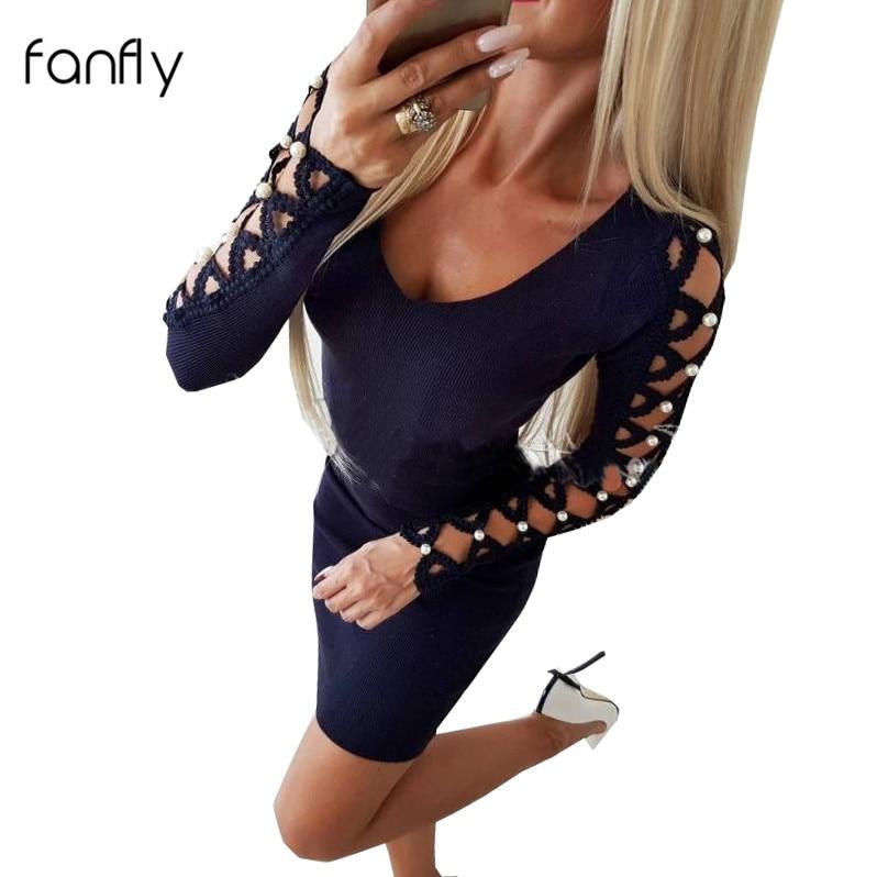 Elegant Party Women Dress Sheath Sexy Bodycon Dresses Short Mini Pearl Crochet Long Sleeve O Neck Slim Fit Autumn Winter SJ1178F