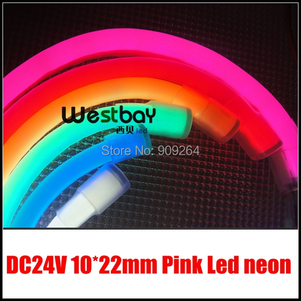 Pink 24V Mini led neon flexible lights for letter signs material,short distance cuttable,DC voltage input, easy installation image
