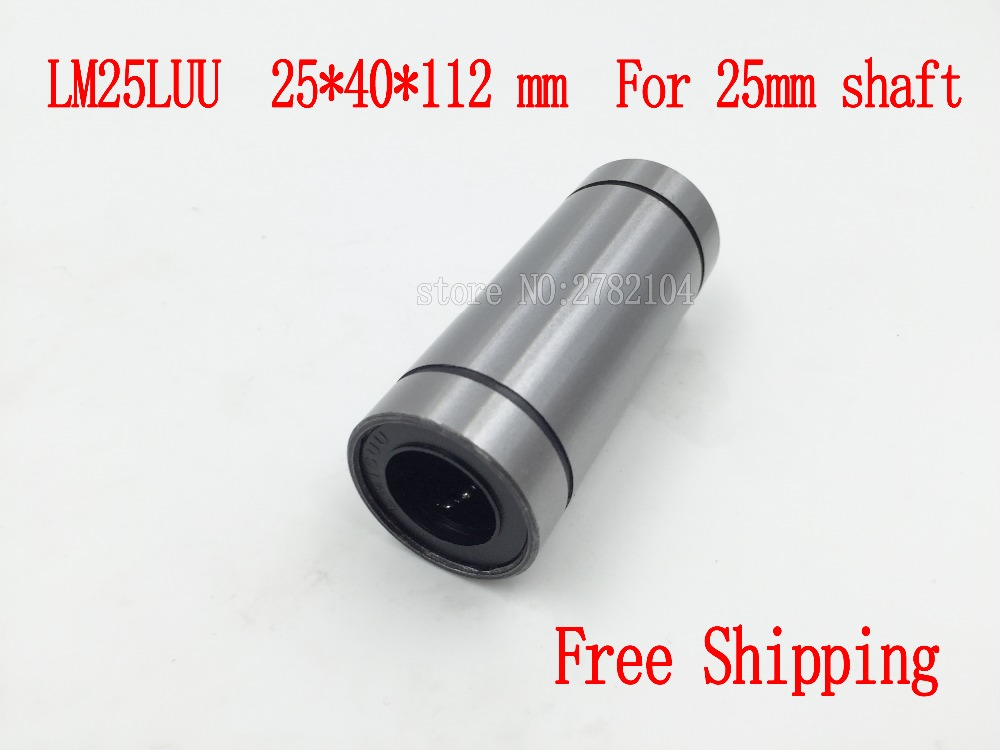 2pcs/lot Free shipping LM25LUU 25mmx40mmx112mm 25mm bearing linear ball bearing bush bushing for 25mm rod round shaft