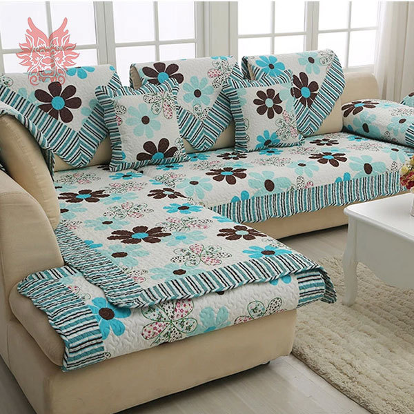 European Style Floral Print Sofa Cover 100 Cotton Cloth Quilting