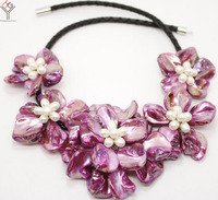 wedding Women Jewelry natural white pearl 5 flower pendant Bright purple shell mother of pearl necklace black leather 18