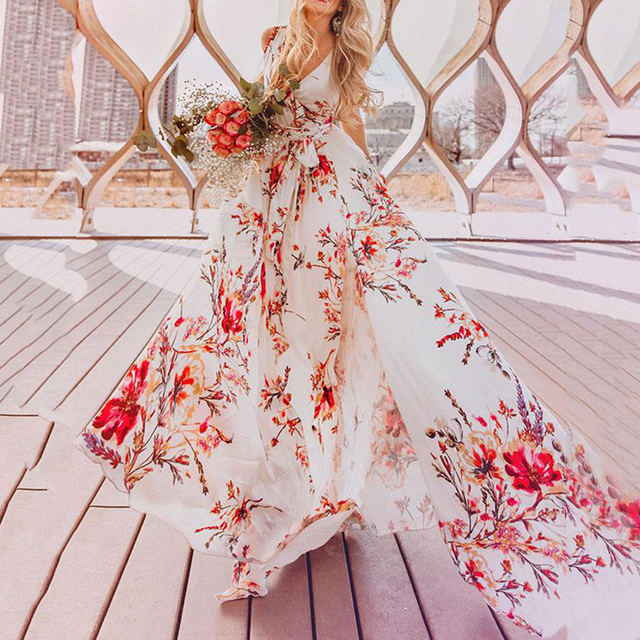 Women Bohemian Dress 2018 New Casual Expansion V-Neck Sleeveless High-Waist Pullover Floral Print Split Girls Fashion Dress