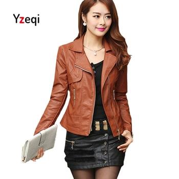 Yzeqi Autumn Women Leather Jacket Black Plus Size 4xl Elegant Punk Coat Outwear Coat Zippers Roupas Leather Jacket Women Bikers plus size women in leather