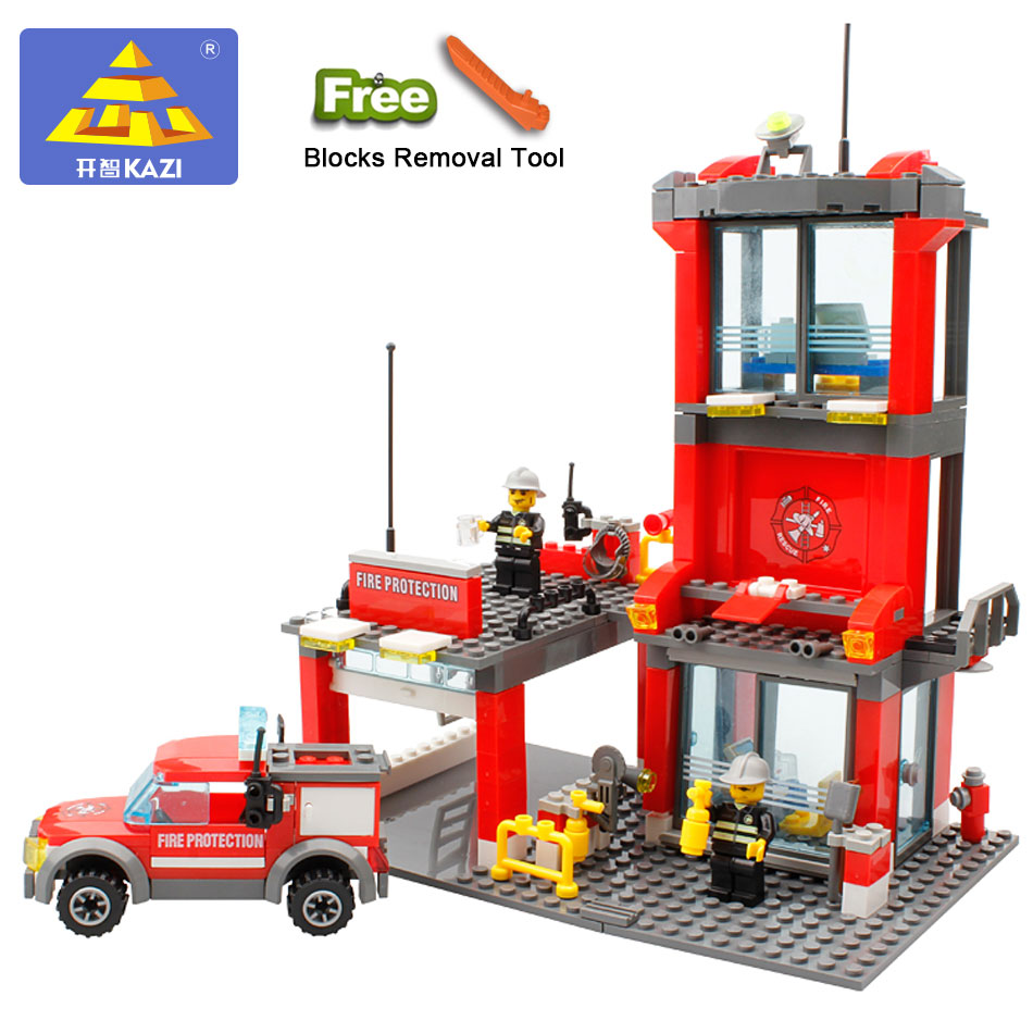 KAZI 8052 City Fire Station 300pcs Building Blocks Truck Model Toys Bricks With Firefighter Gifts For Kid Compatible With Legoe kazi fire department station fire truck helicopter building blocks toy bricks model brinquedos toys for kids 6 ages 774pcs 8051