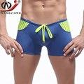 Hombres wj pene bolsa de traje de baño de alta calidad 2016 marca de moda patchwork malla de punto tallas grandes beach boxer shorts de secado rápido