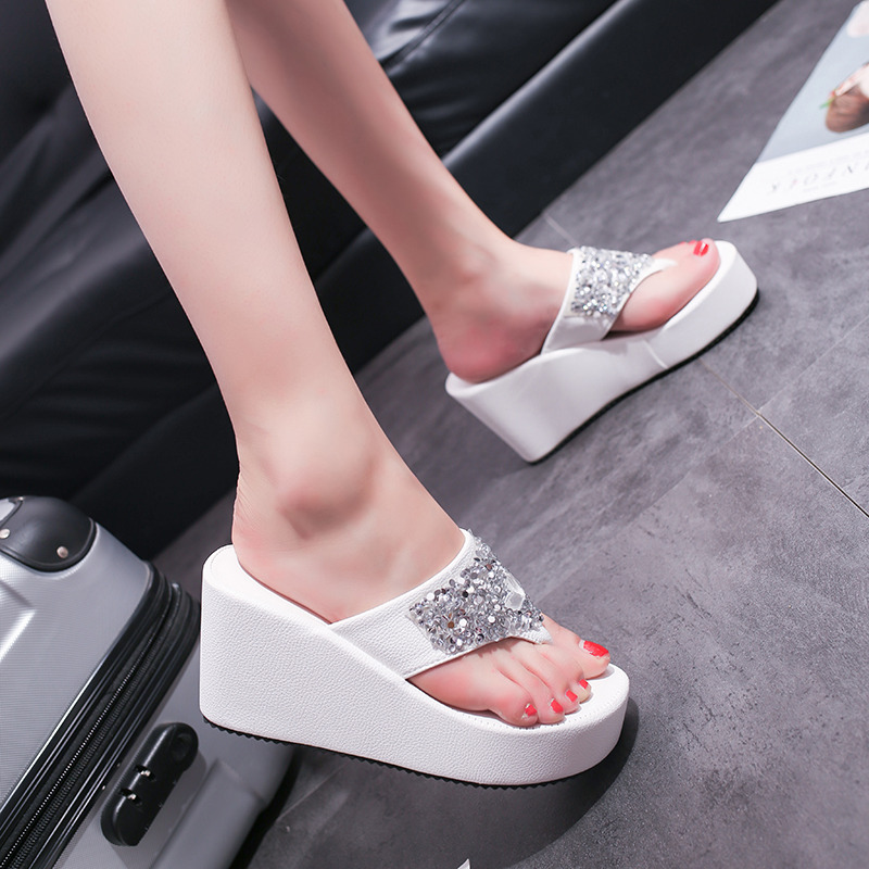 HKJL Summer Platform Wedges Sandals Crystal Slippers Flip Flops Wedges Heels Flip Flops Beach Sandals Platform Slippers A066 in Flip Flops from Shoes