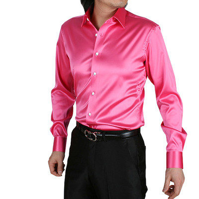 New Mens Dance Shirt Competition Performance Ballroom Modern Salsa Tango Samba Latin Mens Dance Shirts Pink  Color