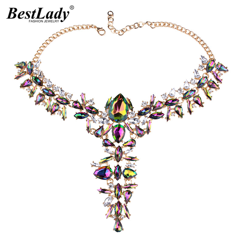 Best lady 2017 Special Design Wedding Jewelry Bohemian Crystal Statement Neklace Women Multicolored Collar Chokers Collier 4397