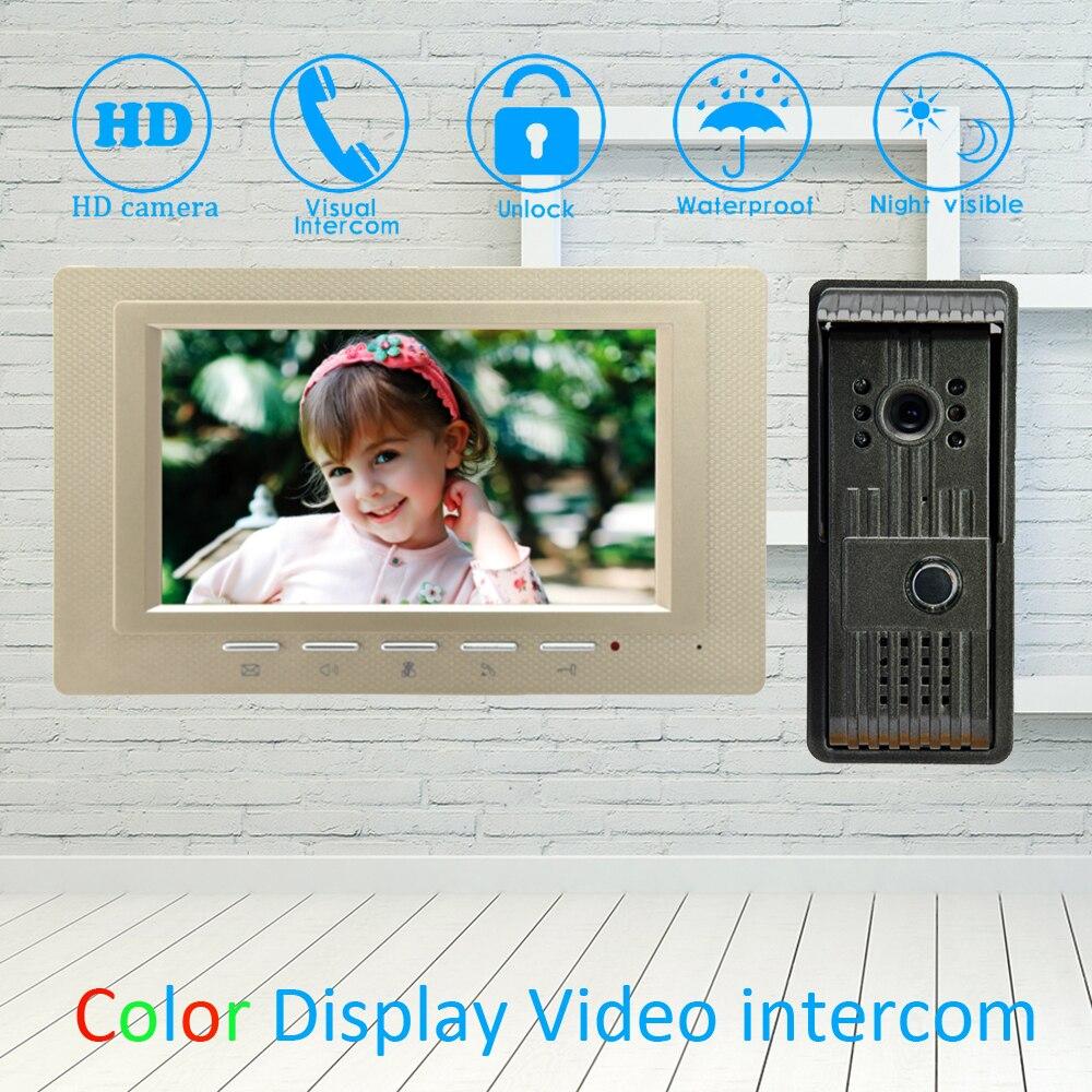 (1 Set) Smart home dispositif une à une vidéo porte téléphone sonnette avec écran de 7 pouces et caméra étanche parler déverrouiller