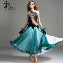 Modern/ Ballroom performance dance dress with Shining Rhinestones and GlovesWomen Long Skirt Green Purple Red color