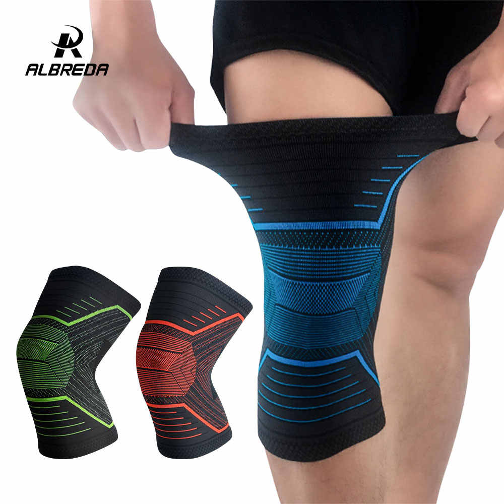 c81bb272a8 ALBREDA Nylon Elastic Sports Knee Pads Breathable Knee Support Brace  Running Squat Fitness Hiking Cycling Knee