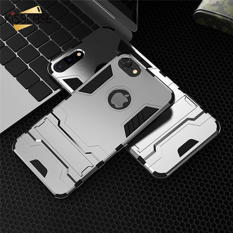 KISSCASE Fashion Hybrid 2 in 1 PC Case For iPhone 7 7 Plus 6 6s Plus Case Cool Iron Man Armor Protrctive Back Kickstand Coque