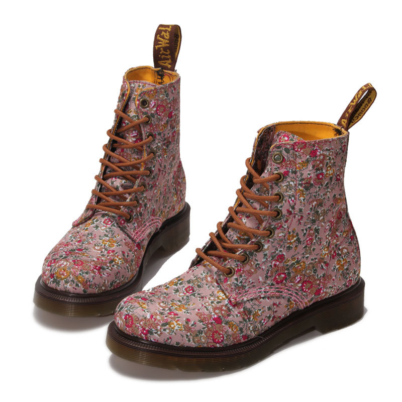 ФОТО Fashion Retro Printing ankle women boots Canvas printing thick with flat bottom breathable single shoes platform Martin boot