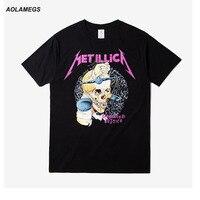 Aolamegs T Shirt Men Women Skull Printing Heavy Metal Rock T Shirts O Neck Tops Tee