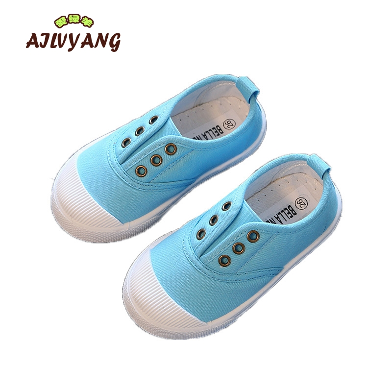 Child Casual Spring Autumn Canvas Shoes Baby Boys Candy Color Sport Shoe Toddler Girl Slip-on Breathable Shoe Kids Flats Sneaker