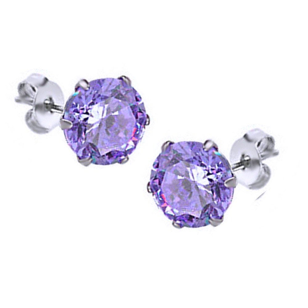 Pair of Round Cut Amethyst CZ Gem Stud Earrings 3mm 14k White Gold Over все цены