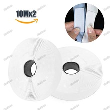 10M*2 Hook and Loop Fastener Tape, Self Adhesive Sticky Tape, Heavy Duty Hook Loop Tape Reusable Double Sided Sticky Tape 100 pairs dots sticker hook loop double sided self adhesive nylon tape snap adhesive fastener tape home use sewing accessories