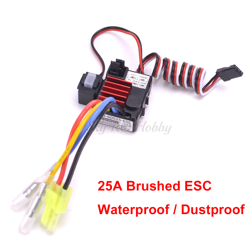 Waterproof TB-60025 <font><b>25A</b></font> <font><b>ESC</b></font> Brushed Electronical Speed Controller 1-2S Dustproof for 1/18 RC Car Truck Boat various Models image