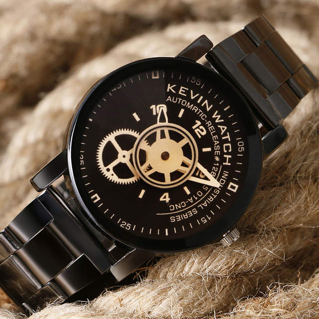 278c8987dc0 placeholder KEVIN Moda Analog Watch dos homens de Aço Inoxidável Completa  Negócios relógios de Pulso de Quartzo
