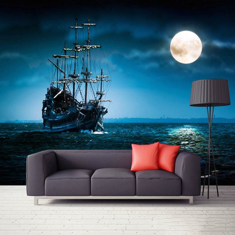 European Style Sailboat Moonlight Landscape Creative Theme Backdrop Wall Photo Mural Wallpaper Living Room Bedroom 3D Home Decor