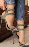 2017 Fashion Stiletto Heel Sandal Army Green Cross Weaving Sandals Wedding Party Dress Shoes Women Wholesale