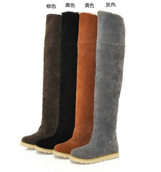 Women's Snow Fashion Stretch Fabric Boots Ladies Over The Knee Long Flock Flat Platform Winter Warm Motorcycle Boots Shoes