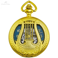 KS Retro Alloy Gold Case Musical harp Watches Hollow Clock Male Hodinky Key Pendant Necklace Mechanical Pocket Watches /KSP112
