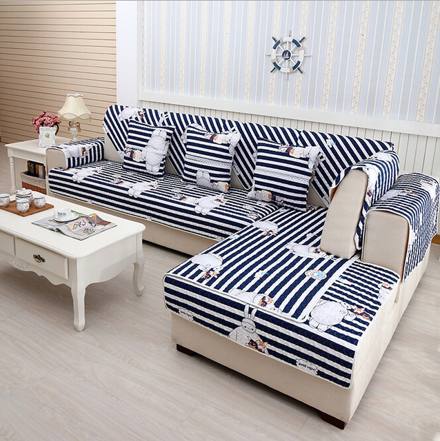 Capas Para Sofa De Canto Cheap Quilted Cushion Printed Cotton Striped Couch  Modern Sofa Covers For