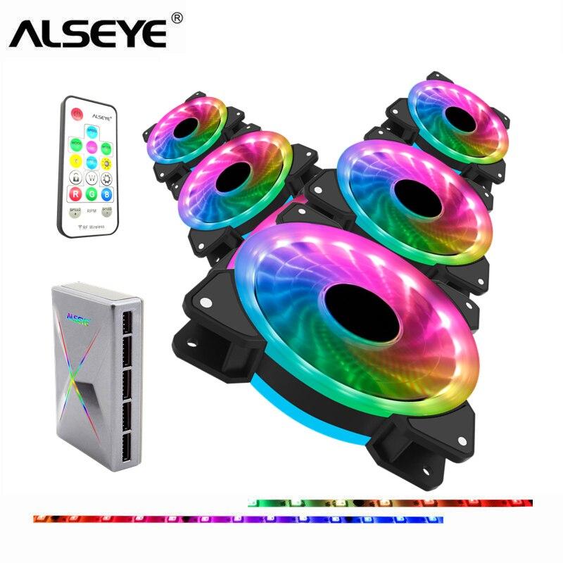 ALSEYE ventilador pc 120mm RGB cooler ventilador ordenador RF Control remoto ventilador de la PC con LED y Control de velocidad del ventilador