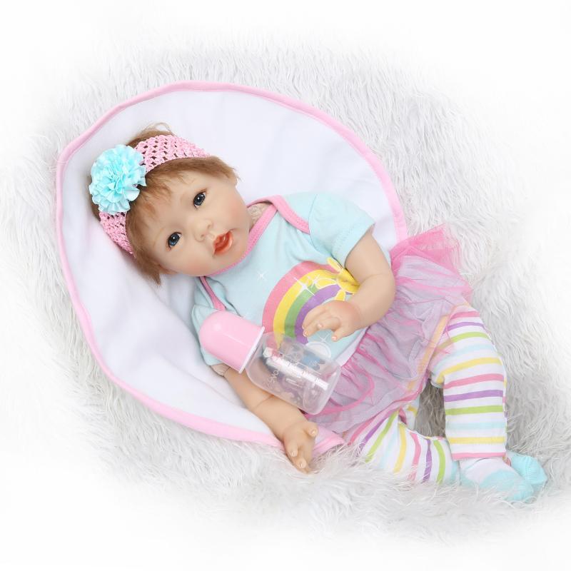 55cm Soft Silicone Reborn Lifelike Simulation Handmade Realistic Baby Princess Dolls Vinyl Bebe Reborn Babies Toys Boencas