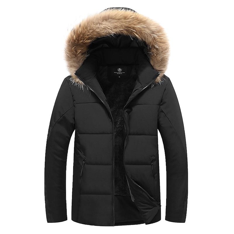 2018 épaissir chaud hiver duvet de canard veste pour hommes col de fourrure Parkas à capuche manteau grande taille pardessus Style occidental M-7XL 8XL 9XL