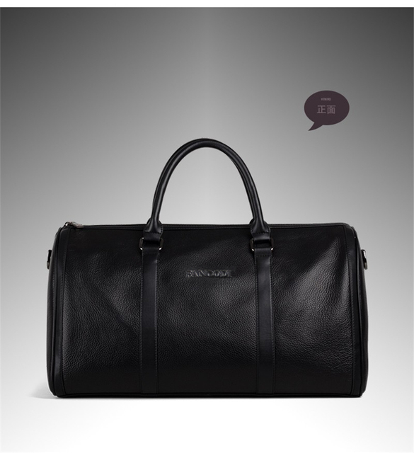 Fashion Genuine Leather Men's Travel Bag Luggage & Travel Bag Men Carry On Leather Duffel Bag Weekend Bag Big Tote Handbag black