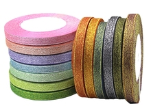 4 rolls 10mm width glitter ribbon gift packing belt wedding party Christmas ribbon sewing accessories