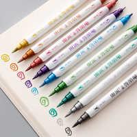 Andstal, 10 colores, doble punta, marcador metálico, marcadores artísticos de Color perlado, pincel artístico metálico, pincel doble, rotulador, pluma de dibujo