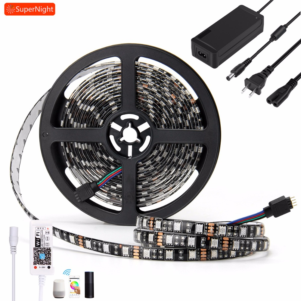 SuperNight SMD5050 RGB LED Strip Light Kit 5M 60LEDs/m Waterproof IP65 Flexible Lamp with 60W Power Supply&iOS Wifi Controller good group diy kit led display include p8 smd3in1 30pcs led modules 1 pcs rgb led controller 4 pcs led power supply