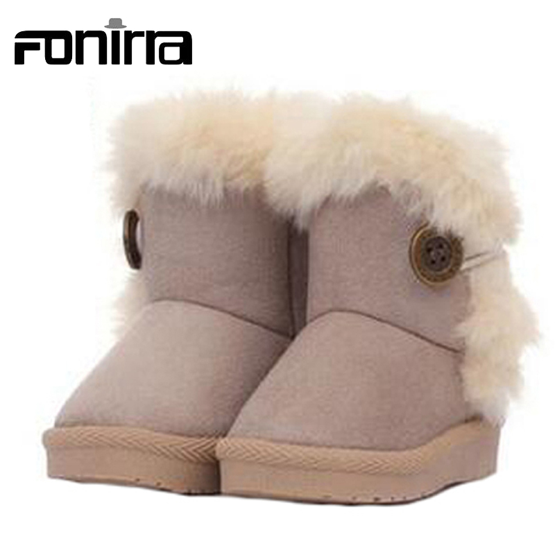 2017 Children Snow Boots Thick Warm Shoes Flock Suede Buckle Boys Girls Skid Resistance Winter Warming Booties 141