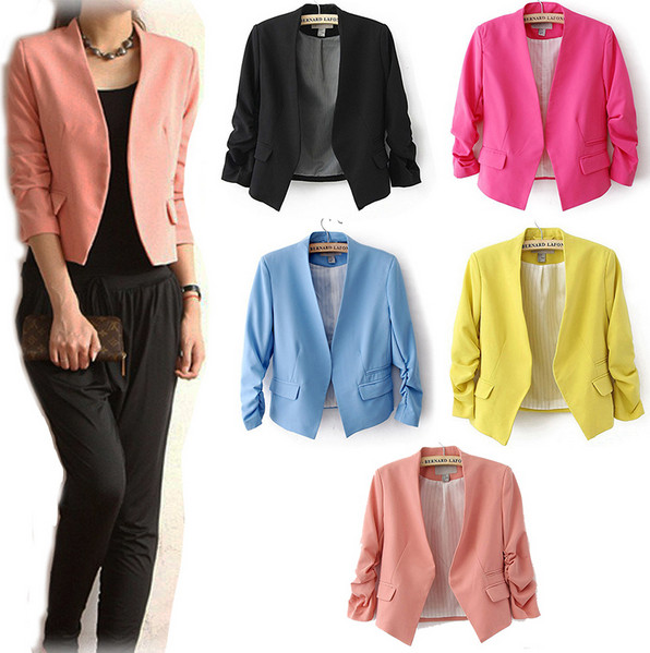 NEW Chic Basic Solid Color Fashion Women 3/4 Sleeve Pockets None Button Woman Slim Short Suit Jacket