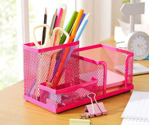 Rose Red Metal Mesh Desk Organizer Desktop Pencil Holder Accessories Box