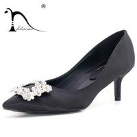 FEDIROMA Elegant Dress Heel shoes for Woman Square Crystal Rhinestone High Heels New arrive Top quality silk lady High heels